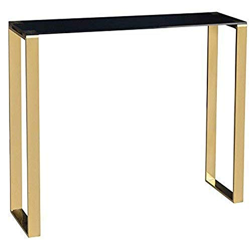 Cortesi Home Remini Narrow Contemporary Glass Console Table in Polished Gold Finish, Black Glass,...