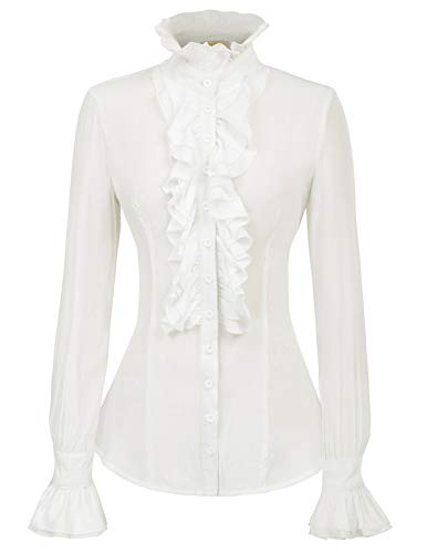 Kate Kasin Women Victorian Gothic Ruffled Lotus Shirt Blouse Tops White XL