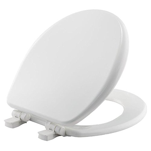 MAYFAIR 864SLOW 000 Toilet Seat will Slow Close, Never Loosen and Provide the Perfect Fit, ROUND, Highly Stylized Durable Enameled Wood, White
