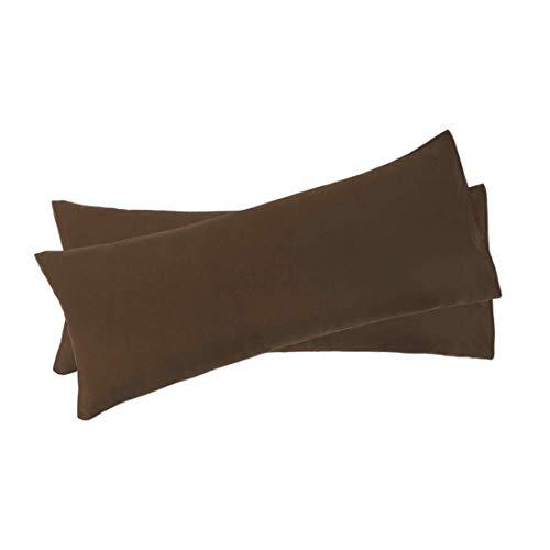 N/D - Juego de 2 fundas de almohada de cuerpo suave 1800 Series de microfibra, fundas de almohada completas para almohadas de cuerpo, color marrón