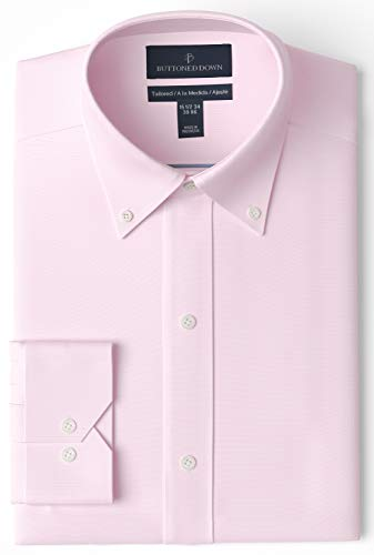 """Buttoned Down Tailored Fit Button Collar Solid Non-Iron Dress Shirt Camicia, Rosa (Light Pink), 15"""" Neck 33"""" Sleeve (Taglia Produttore:):)"""