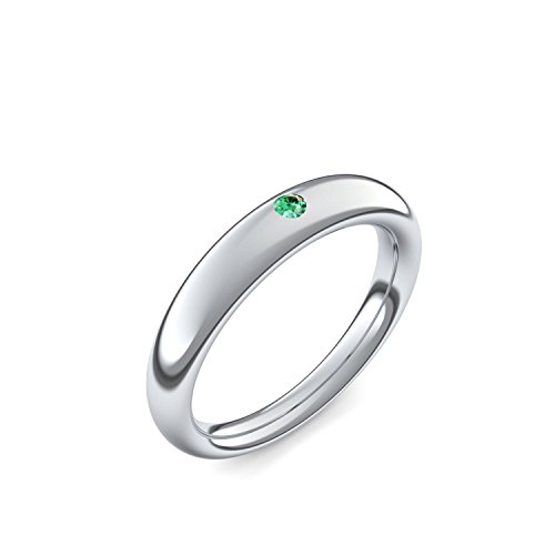 Silber Ring Smaragd 925 + inkl. Luxusetui + Smaragd Ring Silber Smaragdring Silber (Silber 925) - Tension Force Amoonic Schmuck Größe 54 (17.2) AM216 SS925SMFA54