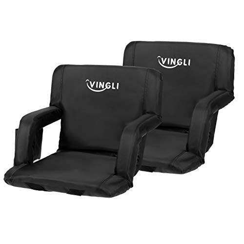PEXMOR 2-Pack Stadium Seats for Bleachers with Back Support & Carrying Bag, 21'' Reclining Chair with Two Pockets for Drinks, Portable Padded Shoulder Straps, Armrests, Waterproof Anti-Slip Bottom