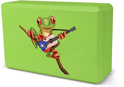 NA Frog spelen Puerto Rico Vlag Gitaar Yoga Baksteen | Verkocht als een blok | EVA Foam Blok Accessoires voor Yoga, Meditatie, Pilates, Stretching (9inchesx 6inchesx 3inches)