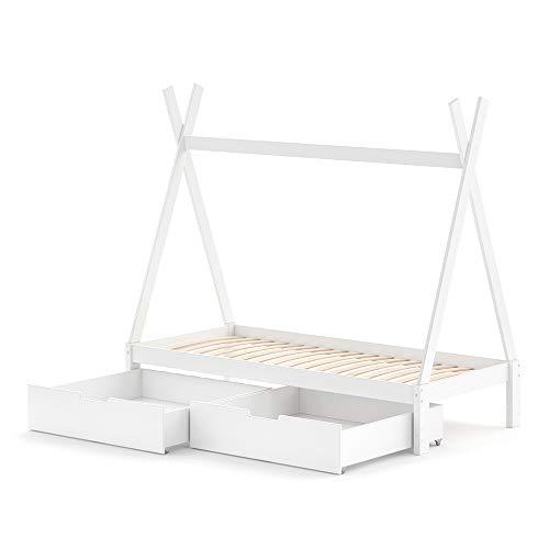 VitaliSpa Kinderbett Tipi Hausbett weiß Bett Kinderhaus Holz 90x200cm Als Umbauvariante Höhenverstellbar (Weiß, Bett mit Schubladenset)