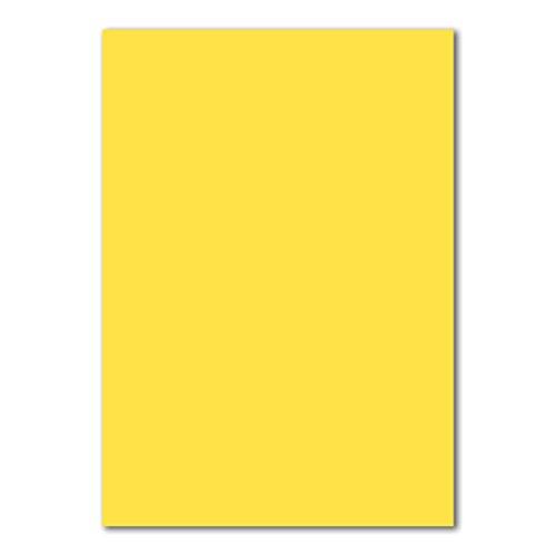 50 DIN A4 Papierbogen Planobogen -Gelb/Honiggelb - 160 g/m² - 21 x 29,7 cm - Bastelbogen Ton-Papier Fotokarton Bastel-Papier Ton-Karton - FarbenFroh