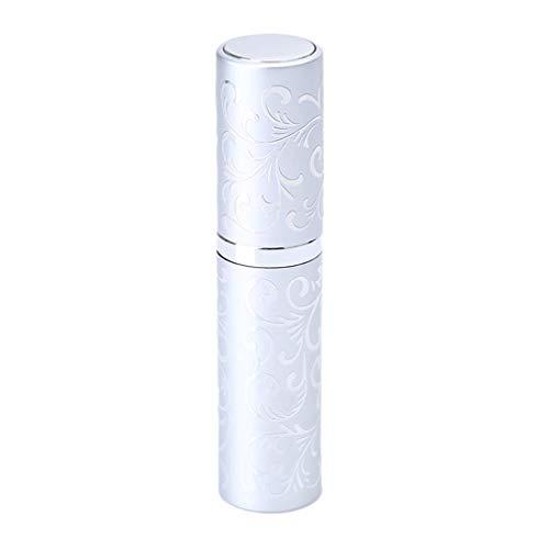 LJSLYJ Mini Bouteille de Parfum en Verre Rechargeable de Jet de Bouteille en Verre Rechargeable de Voyage Portable Bouteille D'Huiles Essentielles Vides, Argent