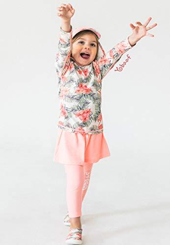 キッズ上下セット水着Yobaafフラミンゴ長袖ラッシュガードレギンススカート付きトレンカUVカット90100110120130140女の子ヨバーフ(8(8-9歳))