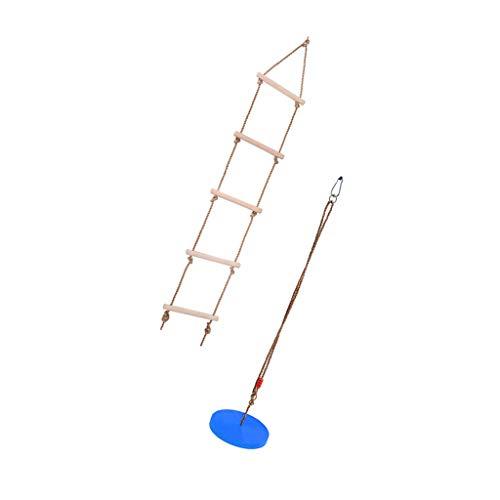 sharprepublic Escalera de Escalada Y Columpio de Cuerda de Disco para Colgar en árboles, Juguete Al Aire Libre para Niños - Amarillo - Azul