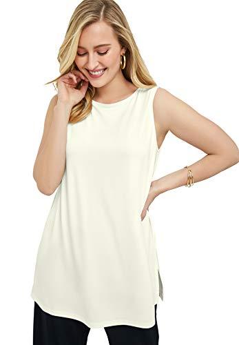 Jessica London Women's Plus Size Travel Knit Tunic Wrinkle Resistant Stretch Knit Long Shirt - 22/24, Ivory