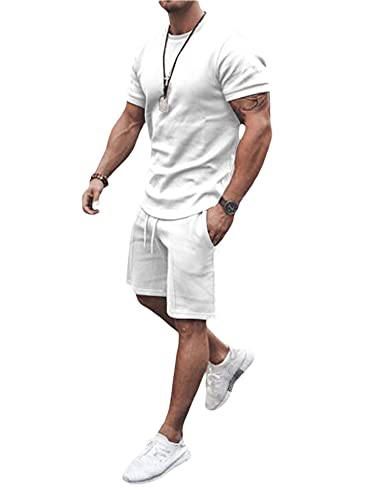 Men's 2 Piece Tracksuit Set Short Sleeve Crew Neck T Shirts Tops Elastic Shorts Outfits Summer Casual Sportswear