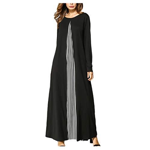 Mibuy Vestido Largo de Mujer Musulmana con Hijab Estampado Floral Kaftan Túnica Suelta de Islámica Arabe Dubai Musulmán - Vestido con Estampado Dorado Ropa Etnica Arabe Islámica (Negro,XXL)