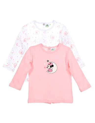Minnie Lot de 2 T-Shirts Manches Longues bébé Fille Rose et Violet de 1 à 9mois - Blanc/Rose, 9 Mois