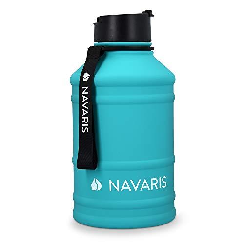 Navaris Botella de Agua de Acero Inoxidable - Cantimplora XXL de Metal de 2.2 L - Garrafa para Bebidas sin BPA para Deporte Camping Gimnasio Oficina