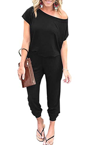 Angashion Women's Jumpsuits - Crewneck One Off Shoulder Short Sleeve Elastic Waist Romper Playsuits with Pockets Black 3XL