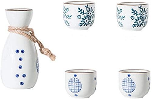 JJDSN 1 Olla Juego de 4 Tazas Flagon Licor Copas para licores 1 Juego Vintage Sake japonés Juego de Vino de Sake de cerámica Winebowl Pequeño Vaso de Vino de cerámica 21317