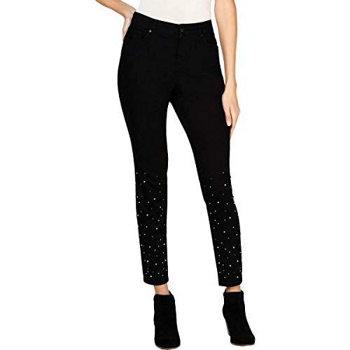 Style & Co. Womens Plus Denim Embellished Skinny Jeans Black 16W