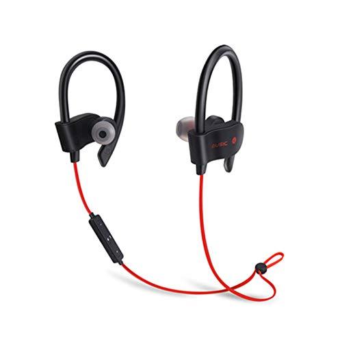 Wsaman Auriculares In-Ear, Auriculares Bluetooth 5.0 Impermeable con Cancelación Activa de Ruido para Teléfono Celular/Running, Auriculares Bluetooth Deportivos,Rojo