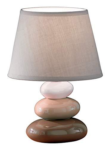 Honsel Leuchten 93911 Lampada da tavolo, Ceramica, 1 x E14 40 W, Marrone/Grigio, 24 x 17 x 17 cm