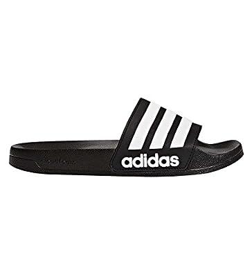 adidas Men's Adilette Shower Slide Sandal, Black/White/Black, 10 M US