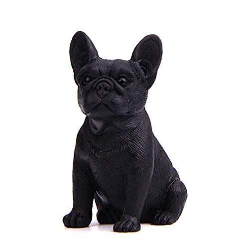 SDFRG Dog Figurine French Bulldog Decoration Dog Statue Miniature Animal Resin Figurines car Ornaments Garden Ornaments.(Black)