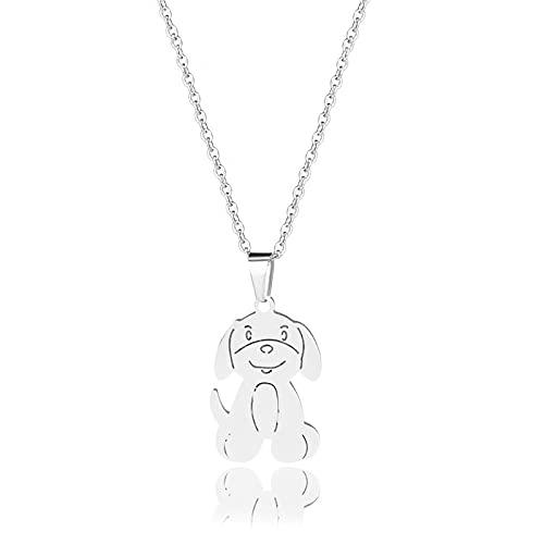 YQMR Colgante Collar para Mujer,Elegante Collar De Dama Diseño De Moda Plata Grabado Exquisito Perro Animal Colgante Mujeres Joyería Amuleto Regalo para Novia Amigo Mamá