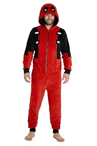 Deadpool Pijama Entero Hombre, Pijama Mono Hombre con Capucha, Pijama Hombre Invierno de Forro Polar, Regalos para Hombre y Adolescente Talla XS-2XL (Rojo, L)