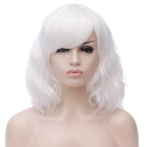 ATAYOU® Perruque synthétique courte ondulée blanche pour femme - Pour Halloween et le carnaval