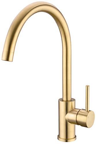 TRUSTMI Messinghahn Einhand-High Arc-Küchenspülenarmatur Schwenker C-Auslauf, Gold gebürstet