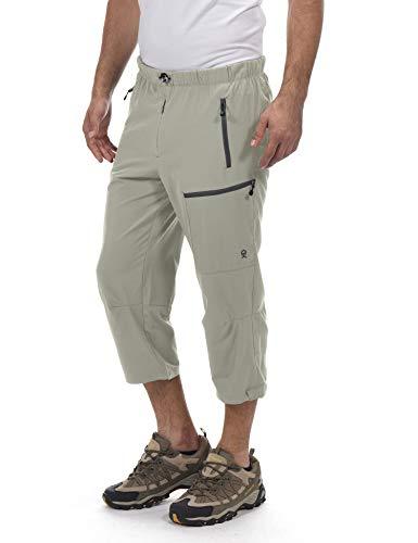 Little Donkey Andy Men's Quick Dry 3/4 Pants Capri Shorts Lightweight Hiking Travel Casual Khaki Size XXL