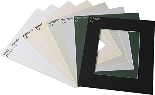 ASP-Galeriebedarf Fertig-Passepartout 20 x 30 cm, für Bildformat 13 x 18 cm, Farbe: Weiß (gedeckt), 2,6 mm