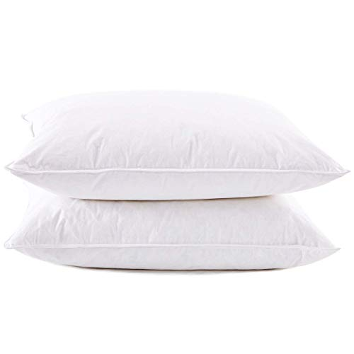 puredown Luxury White Goose Feather and Down Sleeping Pillows Set of 2, Standard Size