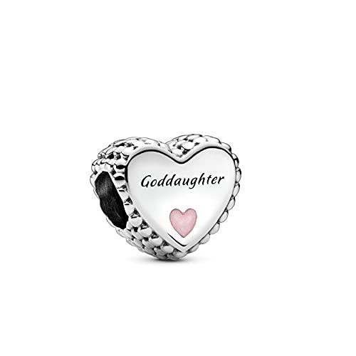 Pandora 925 plata esterlina DIY colgante joyería Goddaughter corazón encanto ajuste mm pulsera haciendo joyería de moda para mujer