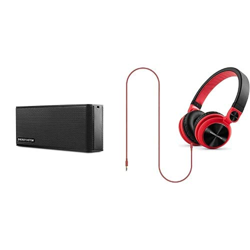 Energy Sistem Music Box B2 Altavoz portátil inalámbrico (Bluetooth, Entrada de Audio, Manos Libres, batería) Negro + DJ2 Auriculares (rotación 180º, Cable extraíble, Plegables), Color Rojo