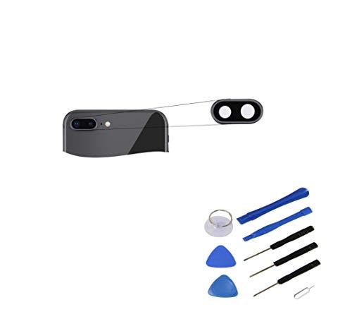 RepairMedia-Shop ★RM★ - Lente de cámara para iPhone 8 Plus, Cristal Resistente a los arañazos, Lente con Marco, Color Gris y Negro, Pieza de Repuesto para iPhone 8 + con Juego de Herramientas ★RM★