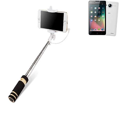 K-S-Trade Für ZTE Blade L3 Plus Selfie Stick Selfiestick Kabelgebunden Monopod Mit Kabel Stab Stange Selfportrait Handheldstick Für ZTE Blade L3 Plus Schwarz