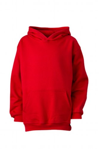 James & Nicholson Jungen Hooded Sweat Junior Sweatshirt, Rot (red), Large (Herstellergröße: L (134/140))