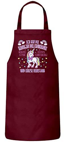ShirtStreet Geschenkidee für Einhorn Fans Frauen Herren Barbecue Baumwoll Grillschürze Kochschürze Ich bin die Königin der Einhörner, Größe: onesize,Burgund