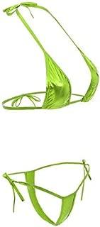 Women's Brazilian Halter Micro G-String Thong Mini Bikini Set Tie Side Bottom Push Up Triangle Swimsuit Bathing Suit