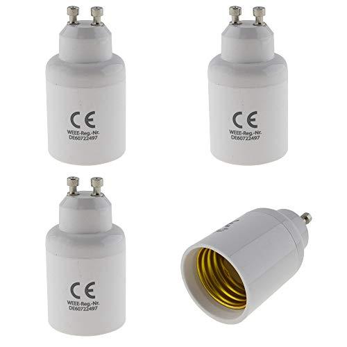 Juego de 4 portalámparas GU10 a casquillo E27, adaptador para bombilla LED halógena y de bajo consumo