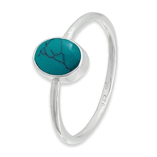 Ring Silber 925 Sterlingsilber Türkis blau grün Stein (Nr: MRI 100), Ringgröße:62 mm/Ø 19.7 mm