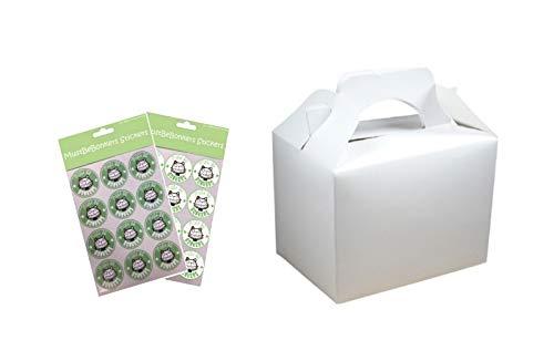 Lot de 30 boîtes en carton uni pour repas ou anniversaire 152 x 100 x 102 mm