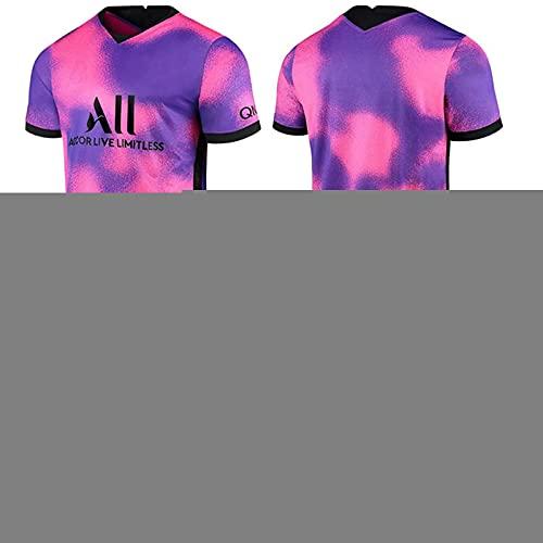 HRZHYHB Traje fútbol Paris Visitante Rosa Morado Camisetas fútbol Niños Adultos Conjunto Manga Corta Camisetas 11# 7# Mbappé 10# Neymar Trajes de Entrenamiento Suaves y Transpirables