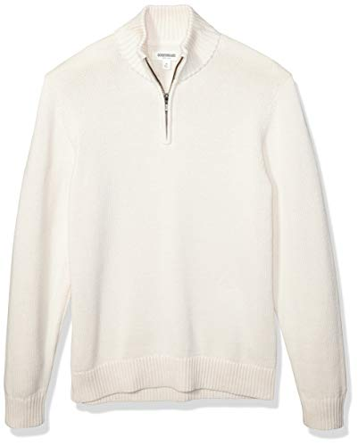 Amazon Brand - Goodthreads Men's Soft Cotton Quarter Zip Sweater, Vintage White Medium