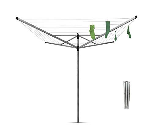 Brabantia Lift-O-Matic Tendedero de Jardín con Soporte, Acero Inoxidable, Gris metalizado, 50 m de cuerda