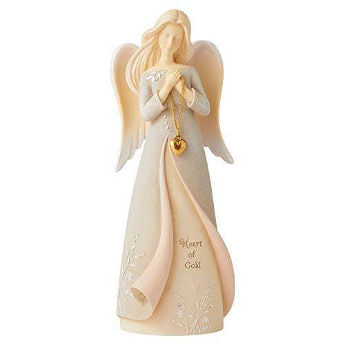 Enesco Foundations Heart of Gold Angel Figurine, 7.09 Inch, Multicolor