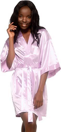 Turquaz Linen Satin Kimono Bridesmaids Robe (Small, Lavender)