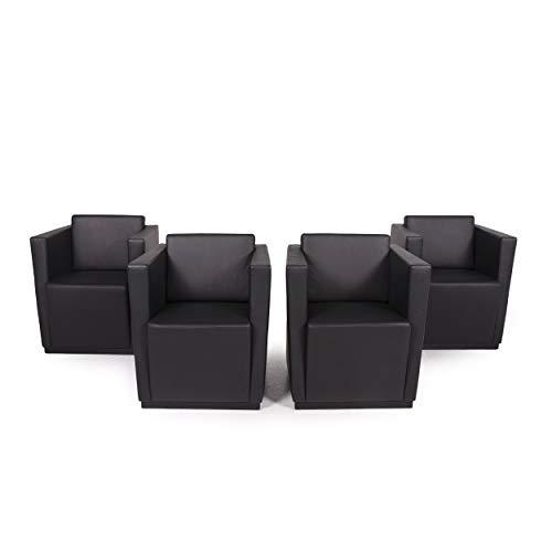 Walter Knoll Elton 406 Leather Armchair Set Black 4X Armchair
