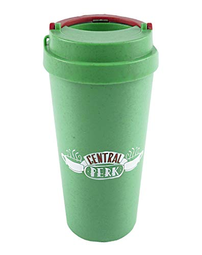 Friends Central Perk - Taza de viaje reutilizable, ecológica, verde, 15 oz