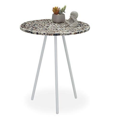 Relaxdays Beistelltisch Mosaik, runder Ziertisch, handgefertigtes Unikat, Mosaiktisch, HxD: 50 x 41 cm, weiß-Silber, 50, 00 x 41,00cm
